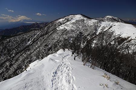 不動ノ峰、蛭ヶ岳と富士山